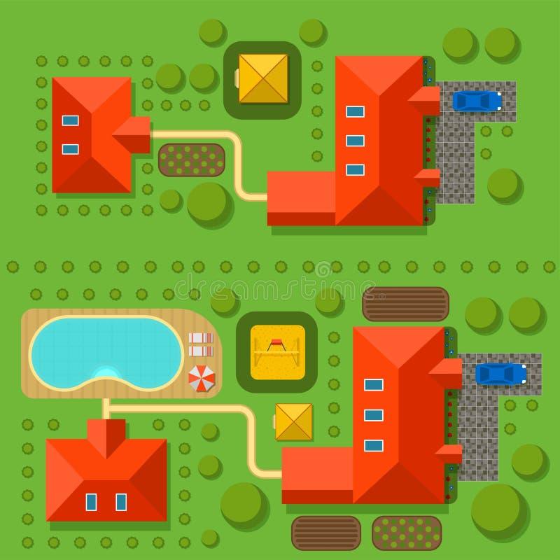 Σχέδιο της ιδιωτικής τοπ άποψης απεικόνισης σπιτιών διανυσματικής του υπαίθριου κτηρίου σχεδίου κατασκευαστών χαρτών βιλών εγχώρι απεικόνιση αποθεμάτων