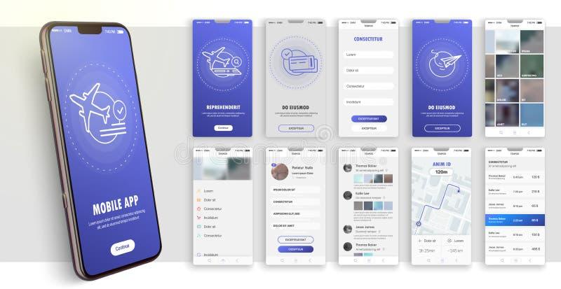 Σχέδιο της κινητής εφαρμογής, UI, UX Ένα σύνολο οθονών GUI με την εισαγωγή σύνδεσης και κωδικού πρόσβασης ελεύθερη απεικόνιση δικαιώματος