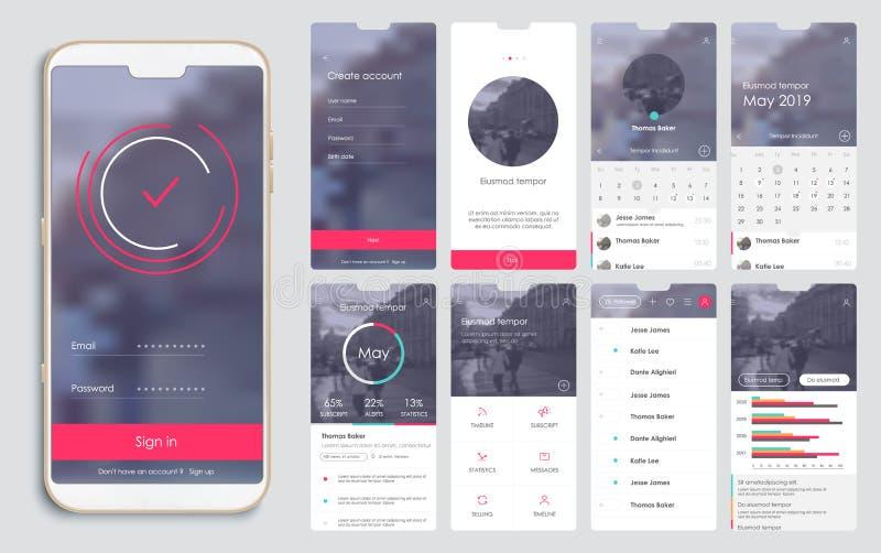Σχέδιο της κινητής εφαρμογής, UI, UX, GUI διανυσματική απεικόνιση