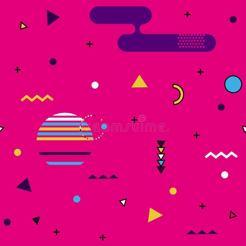 Σχέδιο της Μέμφιδας των γεωμετρικών μορφών για τον ιστό και τις κάρτες Αφίσα Hipster, juicy, φωτεινό υπόβαθρο χρώματος απεικόνιση αποθεμάτων