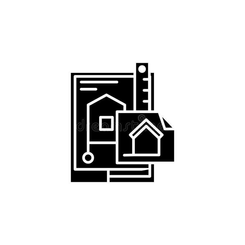 Σχέδιο της μαύρης έννοιας εικονιδίων κτηρίου Σχέδιο του επίπεδου διανυσματικού συμβόλου κτηρίου, σημάδι, απεικόνιση απεικόνιση αποθεμάτων