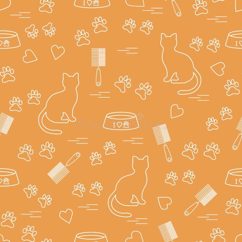 Σχέδιο της Νίκαιας της γάτας συνεδρίασης σκιαγραφιών, ίχνη, καρδιές, κύπελλο και διανυσματική απεικόνιση