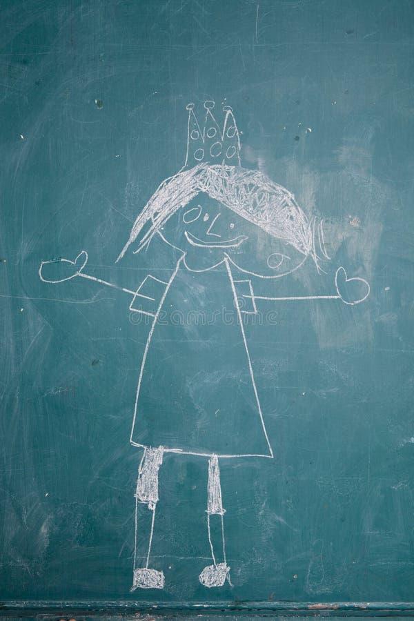 Σχέδιο της πριγκήπισσας στον πίνακα κιμωλίας από το παιδί διανυσματική απεικόνιση