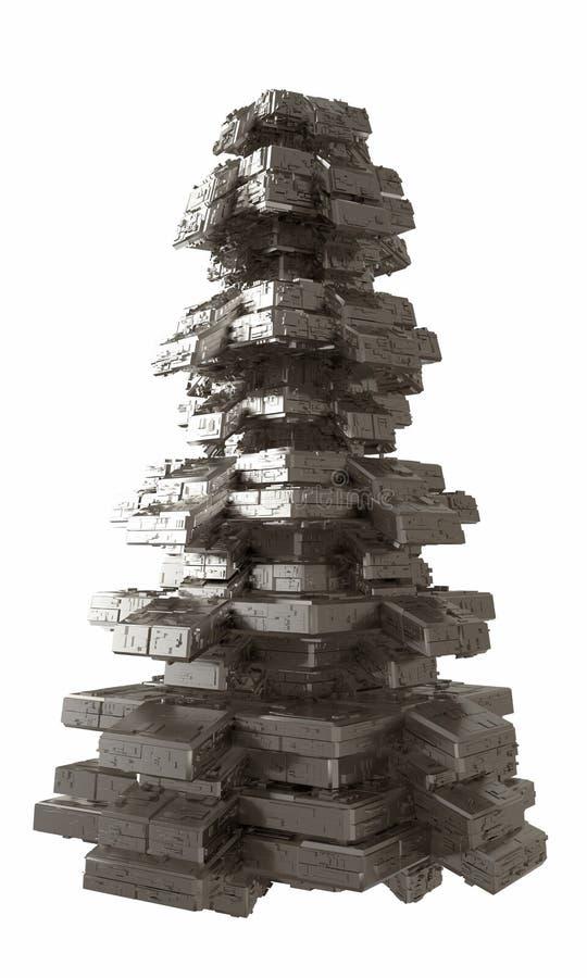 Σχέδιο της πυραμιδικής δομής μετάλλων αρχιτεκτονικής παρόμοιας με το εξωτερικό διαστημοπλοίων αφηρημένη σύγχρονη αρχιτεκτονική τρ ελεύθερη απεικόνιση δικαιώματος