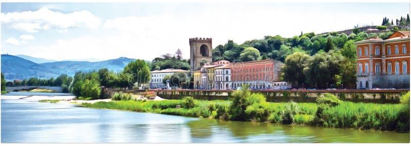 Σχέδιο του αναχώματος ποταμών Arno στη Φλωρεντία πανόραμα στοκ εικόνες με δικαίωμα ελεύθερης χρήσης