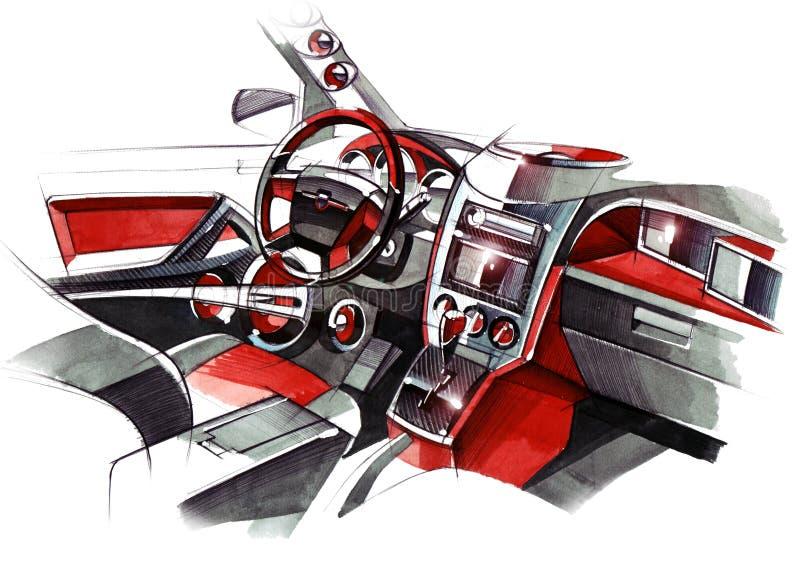 Σχέδιο του αποκλειστικού εσωτερικού σχεδίου του αυτοκινήτου με την επεξεργασία όλων των στοιχείων του σύγχρονου επιβάτη ελεύθερη απεικόνιση δικαιώματος