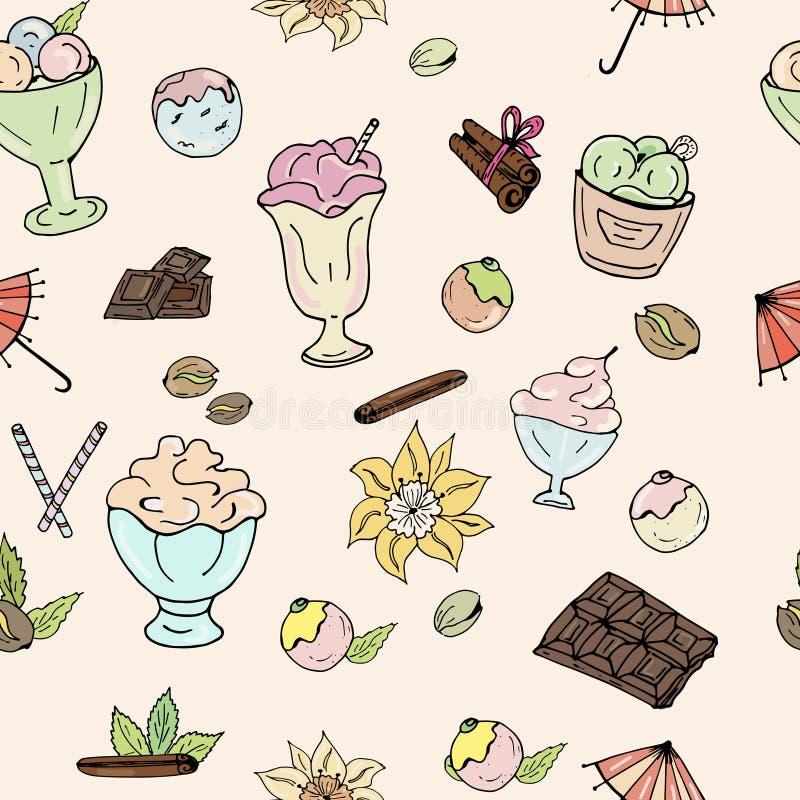 Σχέδιο του παγωτού, της σοκολάτας, των καρυδιών, της βανίλιας και της κανέλας σε ένα ελαφρύ υπόβαθρο ελεύθερη απεικόνιση δικαιώματος