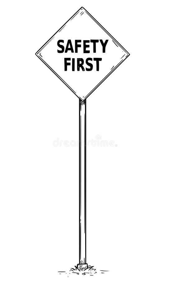 Σχέδιο του σημαδιού οδικής κυκλοφορίας με το κείμενο ασφάλειας πρώτα ελεύθερη απεικόνιση δικαιώματος