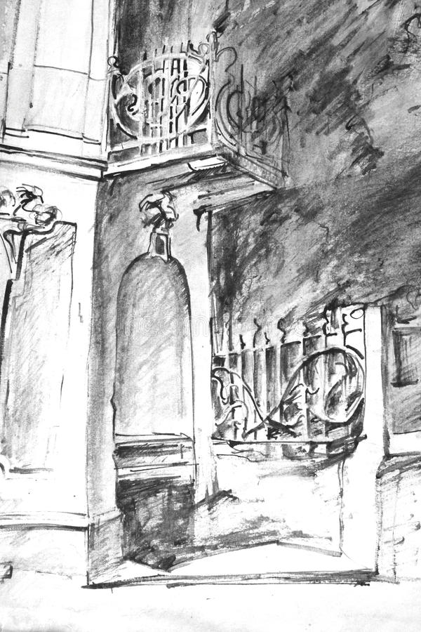 σχέδιο του σπιτιού με το μπαλκόνι και τη μεταλλική φραγή διανυσματική απεικόνιση