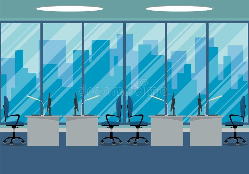 Σχέδιο του σύγχρονου εργασιακού χώρου σχεδίου γραφείων με το μεγάλο παράθυρο στοκ εικόνες