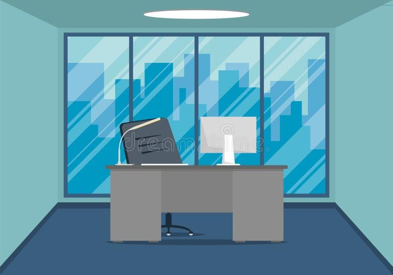 Σχέδιο του σύγχρονου εργασιακού χώρου σχεδίου γραφείων με το μεγάλο παράθυρο στοκ φωτογραφίες