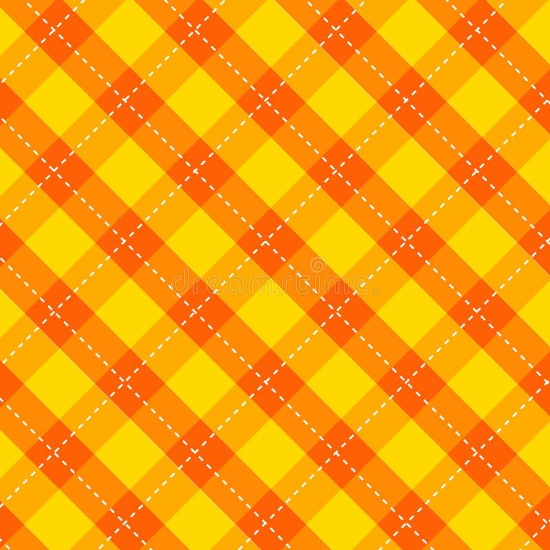 Σχέδιο τραπεζομάντιλων κουζινών καρό με το εκλεκτής ποιότητας yellow-orange χρώμα άνευ ραφής γεωμετρικό τετραγωνικό ελεγμένο σχέδ απεικόνιση αποθεμάτων