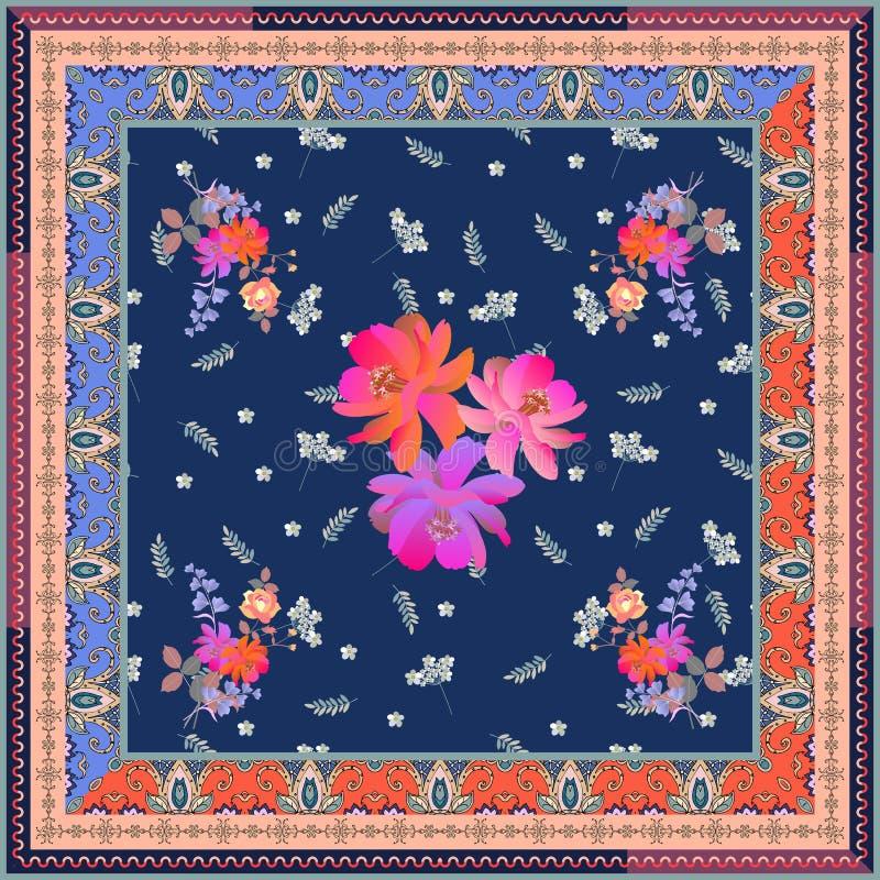 Σχέδιο τυλίγματος κιβωτίων τσαγιού Το φωτεινό τετραγωνικό floral σχέδιο με τα bunchs του κήπου ανθίζει και διακοσμητικό πλαίσιο σ ελεύθερη απεικόνιση δικαιώματος