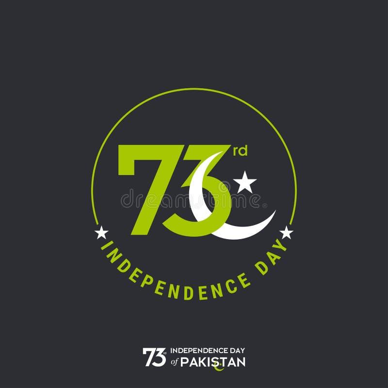 Σχέδιο τυπογραφίας ημέρας της ανεξαρτησίας του Πακιστάν Δημιουργική τυπογραφία της 73ης ευτυχούς ημέρας της ανεξαρτησίας του διαν απεικόνιση αποθεμάτων