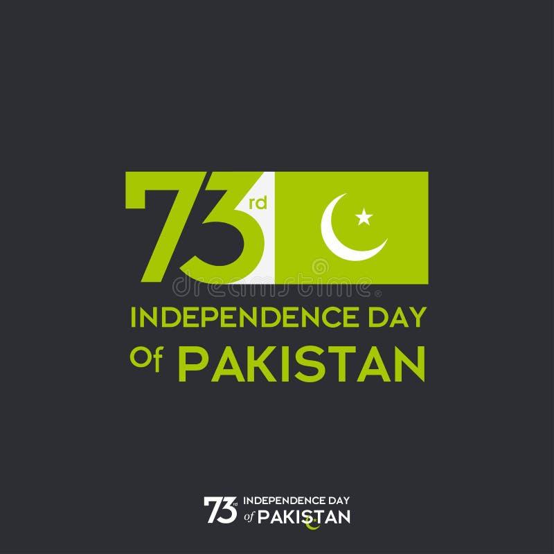 Σχέδιο τυπογραφίας ημέρας της ανεξαρτησίας του Πακιστάν Δημιουργική τυπογραφία της 73ης ευτυχούς ημέρας της ανεξαρτησίας του διαν διανυσματική απεικόνιση