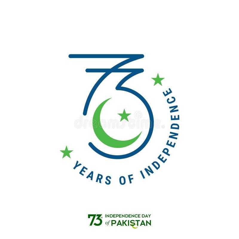 Σχέδιο τυπογραφίας ημέρας της ανεξαρτησίας του Πακιστάν Δημιουργική τυπογραφία της 73ης ευτυχούς ημέρας της ανεξαρτησίας του διαν ελεύθερη απεικόνιση δικαιώματος