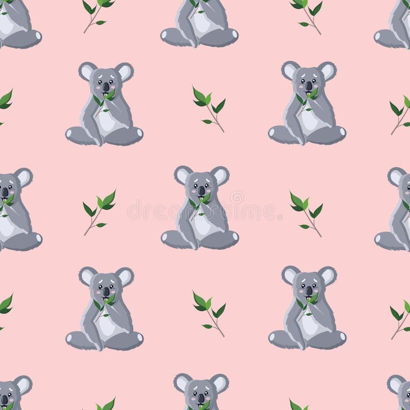 Σχέδιο των καθισμένων γκρίζων koalas με τους κλαδίσκους απεικόνιση αποθεμάτων
