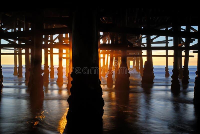 Σχέδιο των πυλώνων της ειρηνικής αποβάθρας παραλιών στο ηλιοβασίλεμα στοκ φωτογραφία