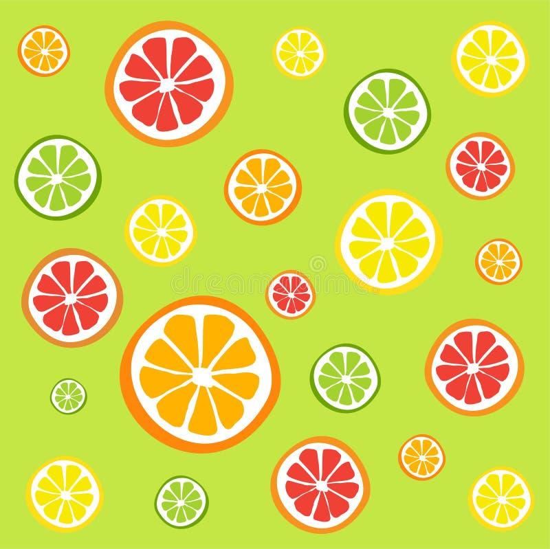 Σχέδιο των φετών εσπεριδοειδών - πορτοκάλι, λεμόνι, ασβέστης και γκρέιπφρουτ, εικονίδια καθορισμένα ελεύθερη απεικόνιση δικαιώματος