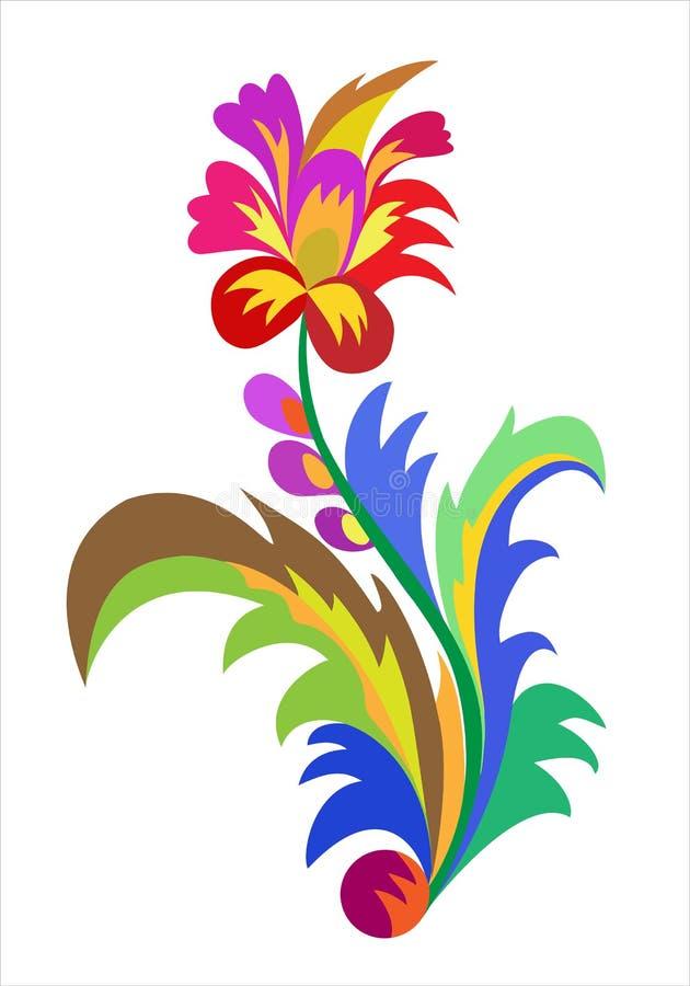 Σχέδιο των φυτικών διακοσμητικών στοιχείων στο λαϊκό ύφος, όπως απεικόνιση αποθεμάτων