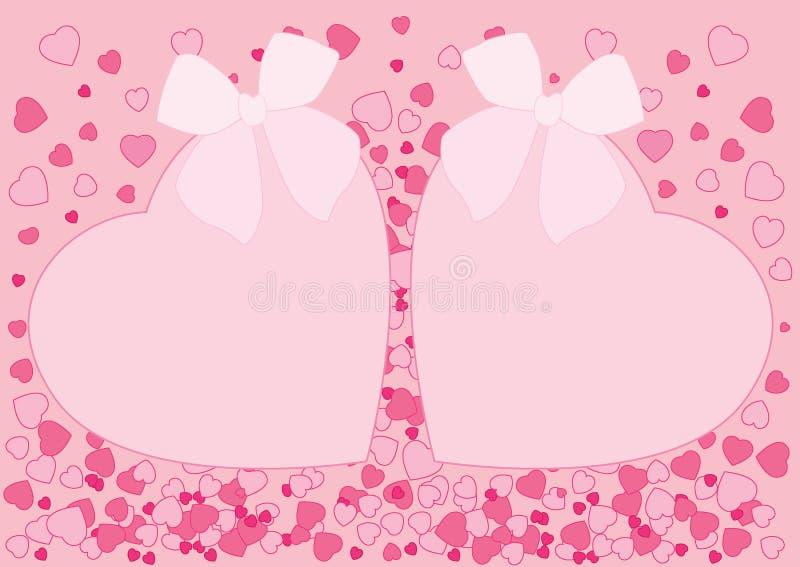 Σχέδιο τόξων καρδιών στο ρόδινο υπόβαθρο ελεύθερη απεικόνιση δικαιώματος