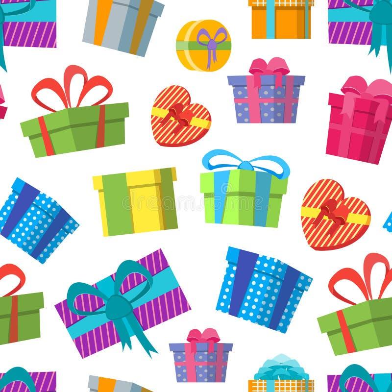 Σχέδιο υποβάθρου κιβωτίων δώρων χρώματος κινούμενων σχεδίων σε ένα λευκό διάνυσμα απεικόνιση αποθεμάτων