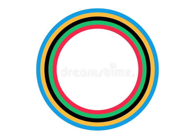 Σχέδιο υποβάθρου με την ολυμπιακή έννοια λωρίδων χρώματος στο ύφος εγγράφου Διανυσματική απεικόνιση που απομονώνεται ή άσπρο υπόβ ελεύθερη απεικόνιση δικαιώματος