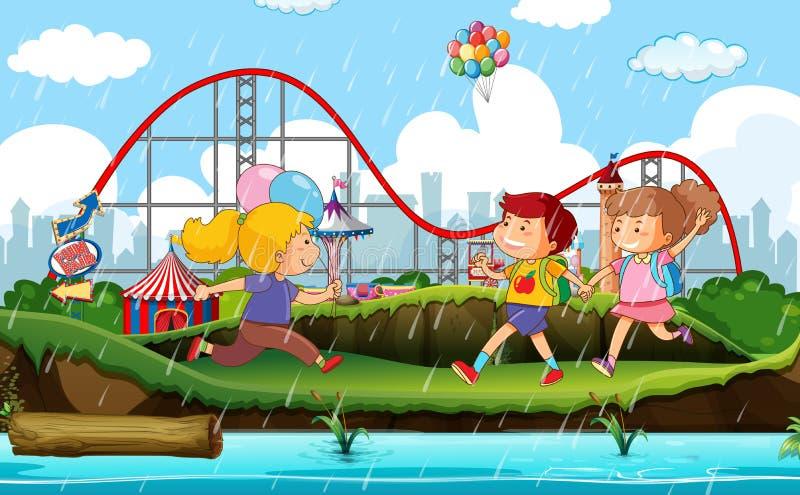 Σχέδιο υποβάθρου σκηνής με το τσίρκο στη βροχή διανυσματική απεικόνιση