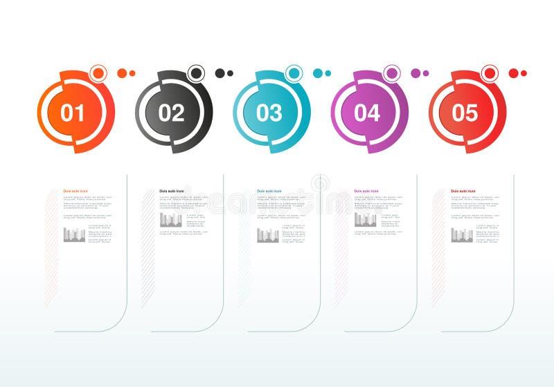 Σχέδιο υπόδειξης ως προς το χρόνο Infographics Πρότυπο με τις κυκλικές ετικέτες Κύρια σημεία επιχείρησης Υπόβαθρο για την επιχείρ ελεύθερη απεικόνιση δικαιώματος