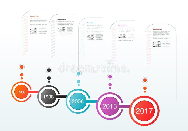 Σχέδιο υπόδειξης ως προς το χρόνο Infographics Πρότυπο με τις κυκλικές ετικέτες Κύρια σημεία επιχείρησης Υπόβαθρο για την επιχείρ διανυσματική απεικόνιση