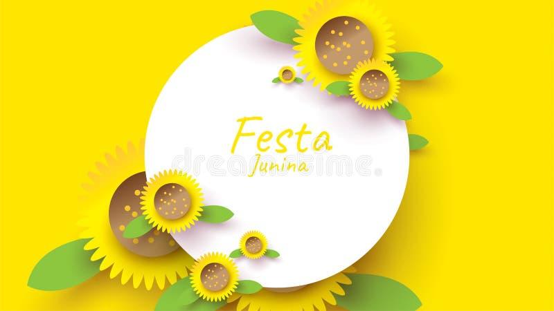 Σχέδιο φεστιβάλ Junina Festa στην τέχνη εγγράφου και επίπεδο ύφος με τον ηλίανθο για την έννοια εμβλημάτων ή αφισών o απεικόνιση αποθεμάτων