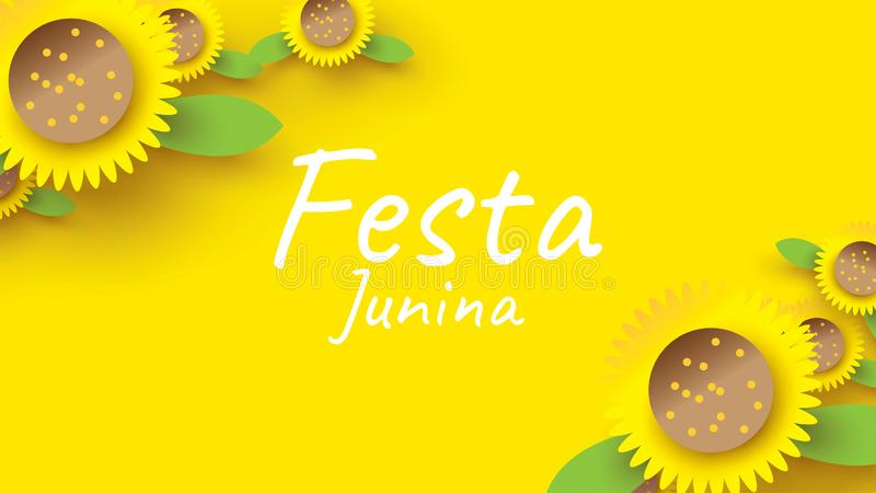 Σχέδιο φεστιβάλ Junina Festa στην τέχνη εγγράφου και επίπεδο ύφος με τον ηλίανθο για την έννοια εμβλημάτων ή αφισών o ελεύθερη απεικόνιση δικαιώματος