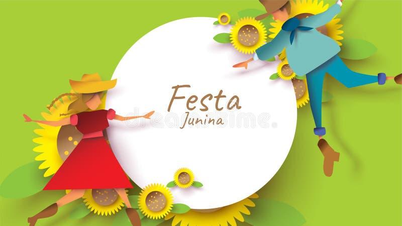 Σχέδιο φεστιβάλ Junina Festa στην τέχνη εγγράφου και επίπεδο ύφος με το άτομο και το κορίτσι χορού ζευγών ερωτευμένα στον ηλίανθο απεικόνιση αποθεμάτων