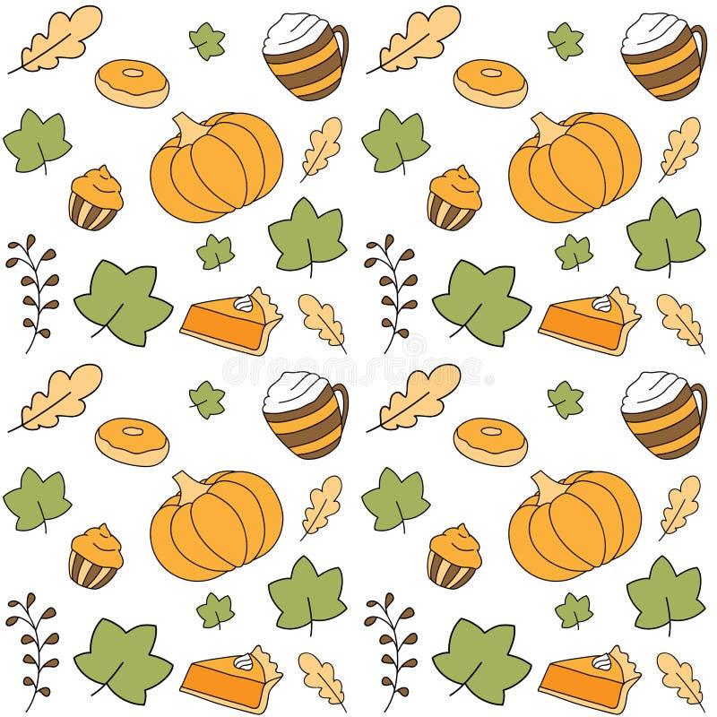 Σχέδιο φθινοπώρου με τα επιδόρπια κολοκύθας διανυσματική απεικόνιση