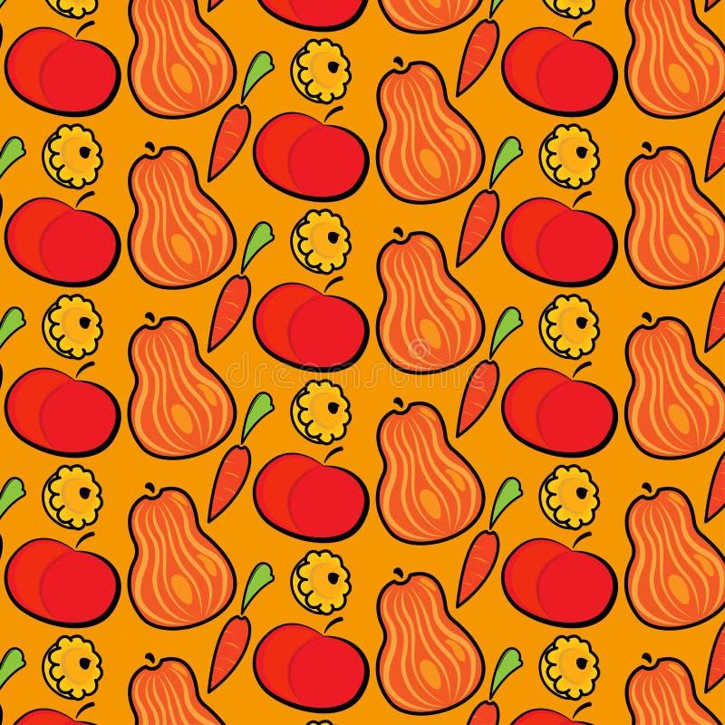 Σχέδιο φθινοπώρου με τις κολοκύθες, τα μήλα και τα καρότα E ελεύθερη απεικόνιση δικαιώματος