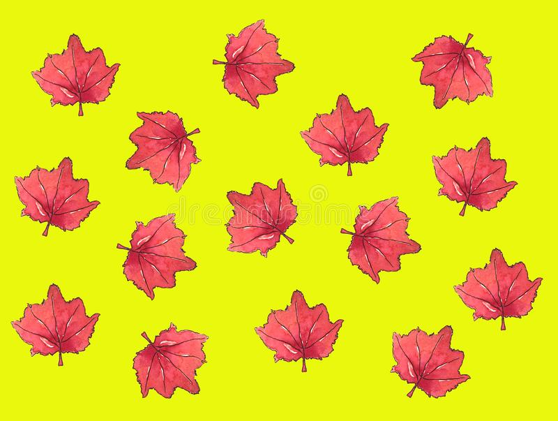 Σχέδιο φθινοπώρου φύλλων σφενδάμου υποβάθρου watercolor φύλλων σφενδάμου απεικόνιση αποθεμάτων