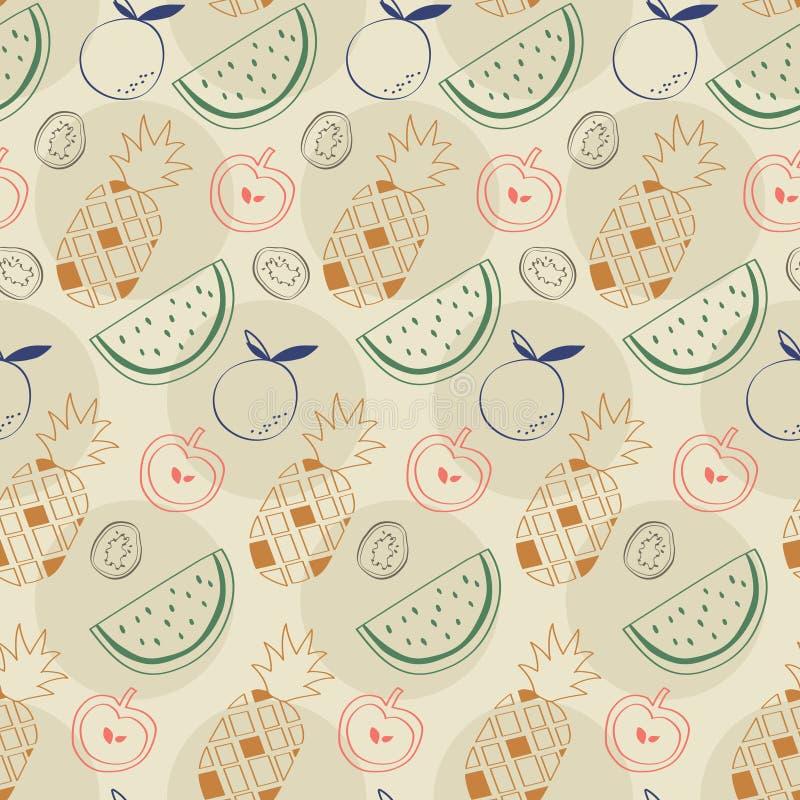 Σχέδιο φρούτων περιλήψεων με τον ανανά, το καρπούζι, το μήλο, το ακτινίδιο, και το πορτοκάλι στοκ εικόνα