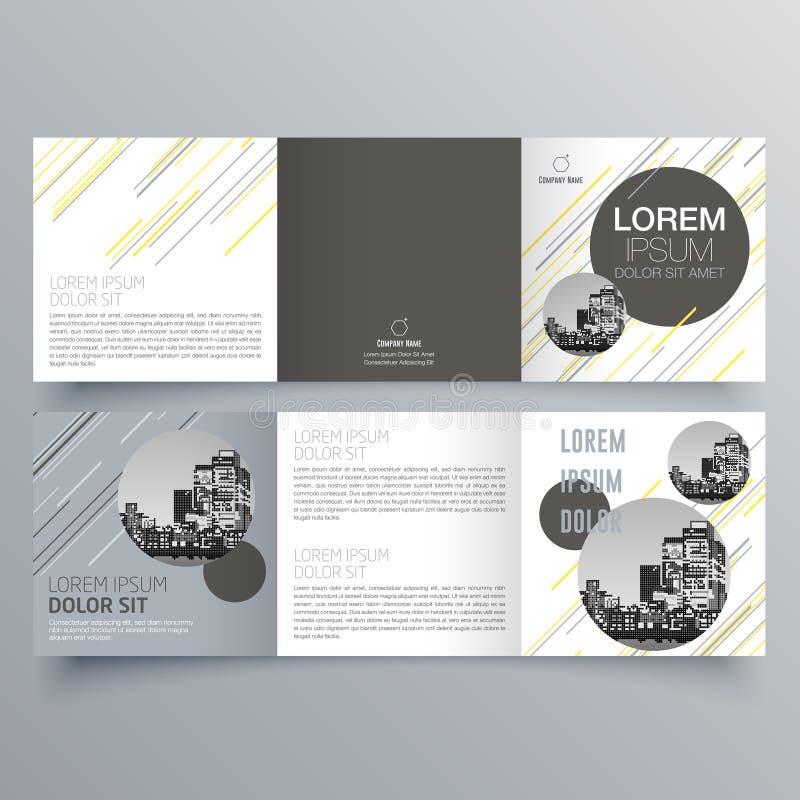 Σχέδιο φυλλάδιων, πρότυπο φυλλάδιων, δημιουργικό trifold, φυλλάδιο τάσης απεικόνιση αποθεμάτων
