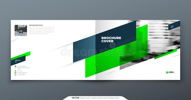 Σχέδιο φυλλάδιων τοπίων Πράσινο εταιρικό φυλλάδιο επιχειρησιακών προτύπων, έκθεση, κατάλογος, περιοδικό Σχεδιάγραμμα φυλλάδιων σύ ελεύθερη απεικόνιση δικαιώματος