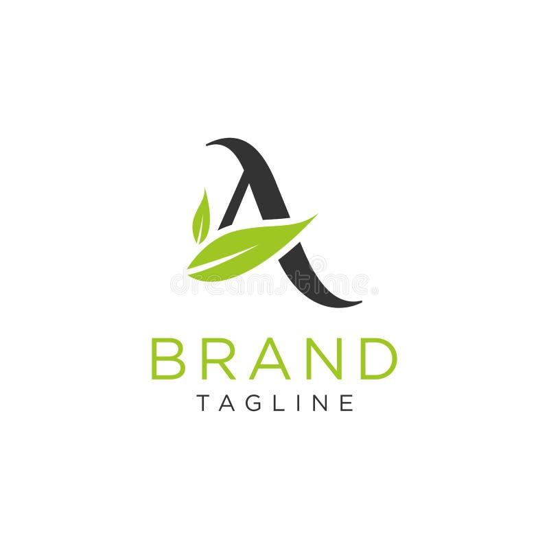 Σχέδιο φύσης λογότυπων γραμμάτων Α με το διάνυσμα φύλλων απεικόνιση αποθεμάτων