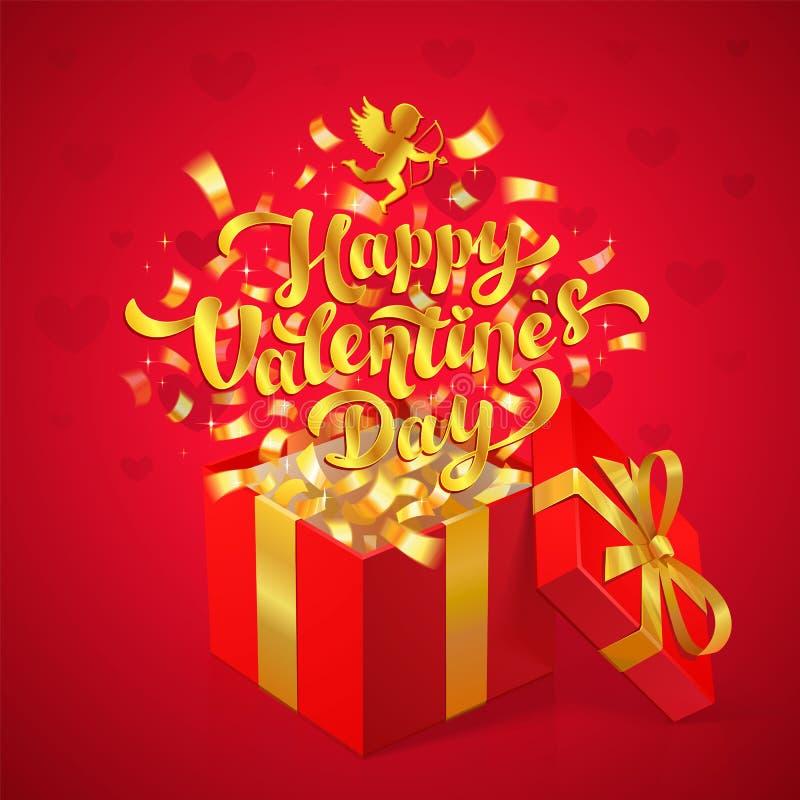 Σχέδιο χαιρετισμού ημέρας βαλεντίνων Sant Χρυσή ευτυχής εγγραφή ημέρας βαλεντίνων και cupid με το κόκκινο κιβώτιο δώρων και το χρ ελεύθερη απεικόνιση δικαιώματος