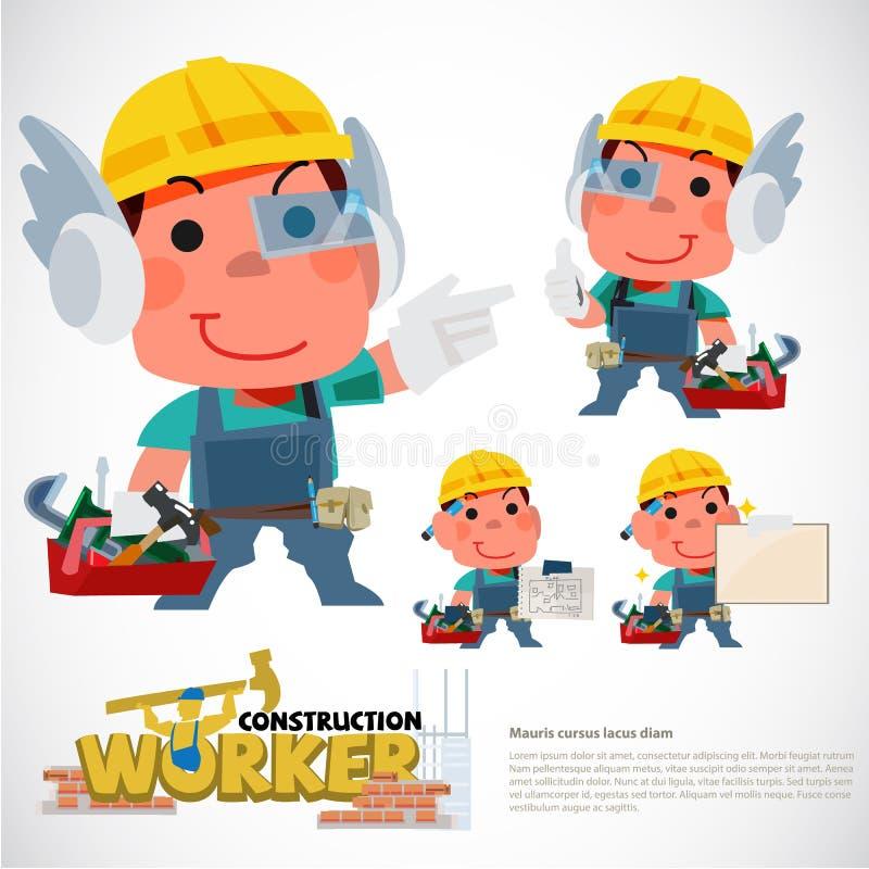 Σχέδιο χαρακτήρα εργατών οικοδομών μασκότ ή presentor για το constucktor - διανυσματική απεικόνιση