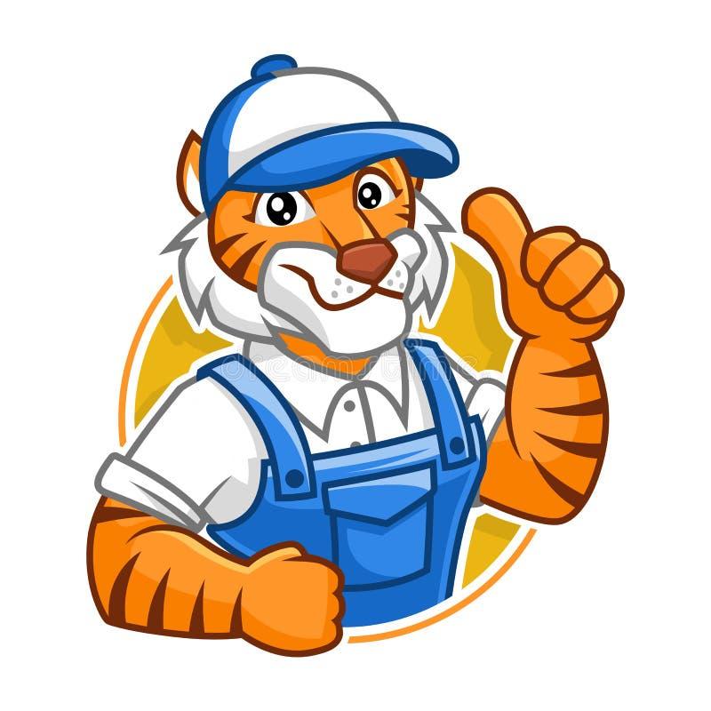Σχέδιο χαρακτήρα μασκότ τιγρών υδραυλικών διανυσματική απεικόνιση
