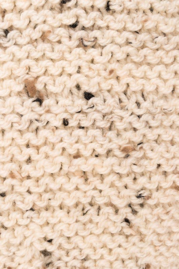 Σχέδιο χειμερινών πουλόβερ Πλέκοντας υπόβαθρο σύστασης μαλλιού Bege Kn στοκ εικόνα