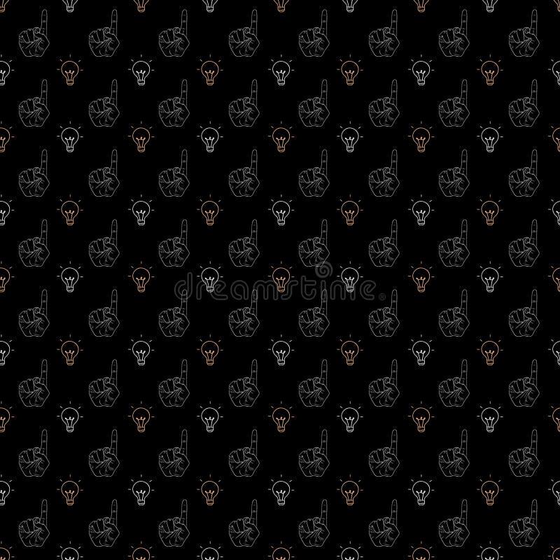 Σχέδιο χειρονομιών χεριών στο μαύρο υπόβαθρο απεικόνιση αποθεμάτων
