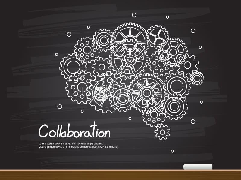 Σχέδιο χεριών κιμωλίας με το εργαλείο εγκεφάλου και τη λέξη συνεργασίας επίσης corel σύρετε το διάνυσμα απεικόνισης διανυσματική απεικόνιση