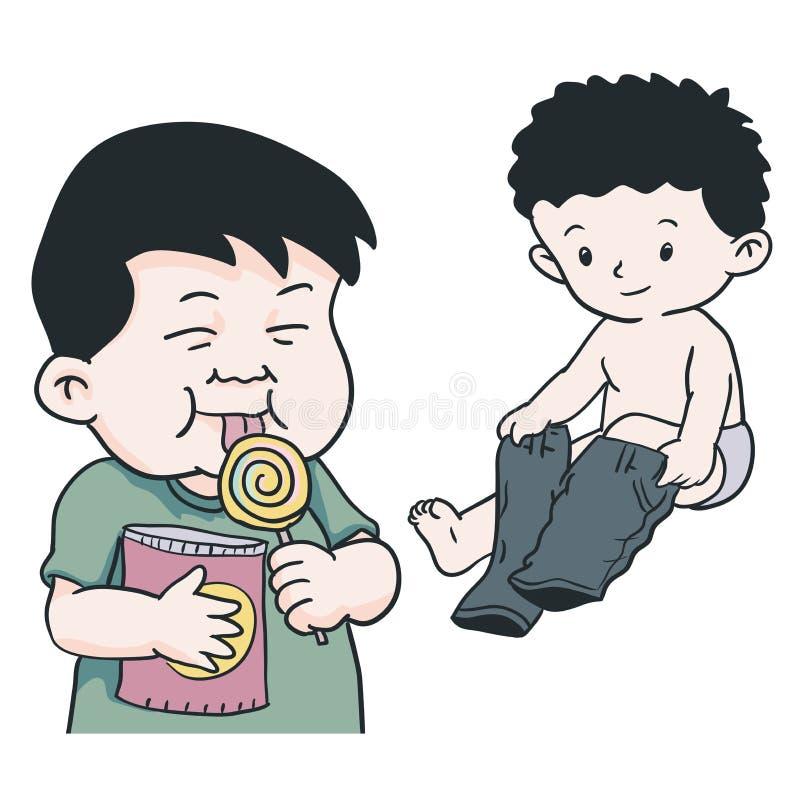 Σχέδιο χεριών του αγοριού που φορά το εσώρουχο, που τρώει lolipop-διανυσματικό Illustra διανυσματική απεικόνιση