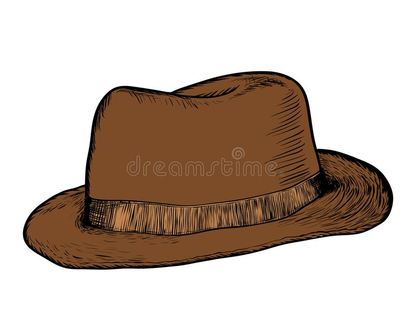 Σχέδιο χεριών του καπέλου κάουμποϋ - διανυσματική συρμένη χέρι απεικόνιση ελεύθερη απεικόνιση δικαιώματος