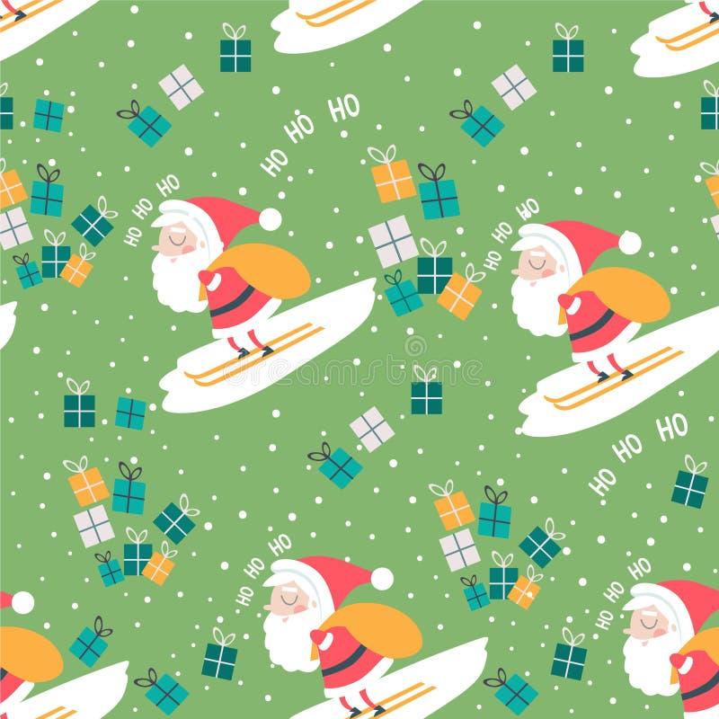 Σχέδιο Χριστουγέννων με το σκιέρ Santa, τσάντα, κιβώτια και ho ho ho διανυσματική απεικόνιση