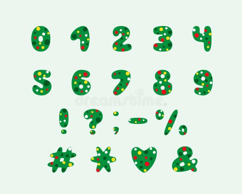 Σχέδιο χριστουγεννιάτικων δέντρων αλφάβητου Αριθμοί και σημεία στίξης 10 eps απεικόνιση αποθεμάτων